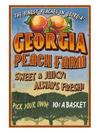 Georgia - Peach Farm by Lantern Press