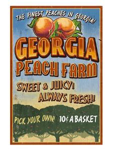 Georgia - Peach Farm by Lantern Press