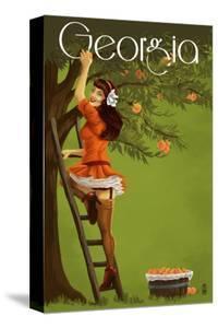 Georgia Peach Orchard Pinup Girl by Lantern Press