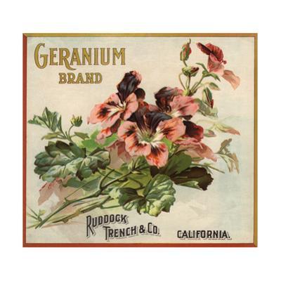 Geranium Brand - California - Citrus Crate Label
