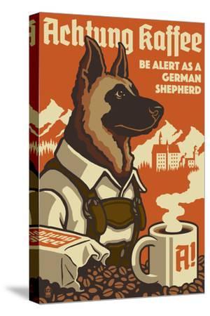 German Shepherd - Retro Coffee Ad
