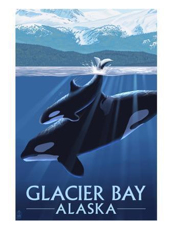 Glacier Bay, Alaska - Orca and Calf by Lantern Press