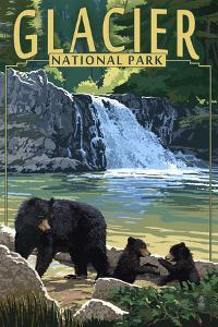 Glacier National Park - Bear Family and Waterfall by Lantern Press