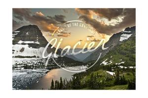 Glacier National Park, Montana - Hidden Lake and Bearhat Mountain - Badge by Lantern Press