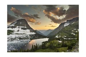 Glacier National Park, Montana - Hidden Lake and Bearhat Mountain by Lantern Press