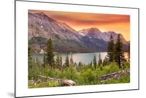 Glacier National Park, Montana - Lake and Peaks at Sunset by Lantern Press