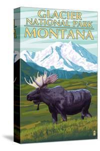 Glacier National Park, Montana - Moose and Mountain by Lantern Press