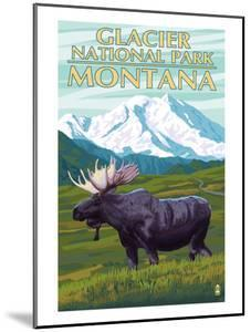 Glacier National Park, Montana - Moose and Mountain by Lantern Press