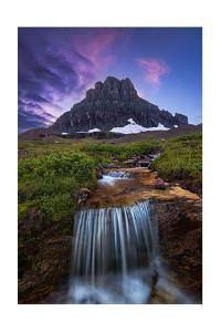Glacier National Park, Montana - Mt. Reynolds and Waterfall by Lantern Press