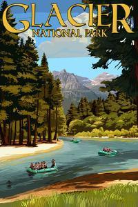 Glacier National Park, Montana - River Rafting by Lantern Press