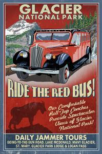 Glacier National Park - Red Jammer by Lantern Press