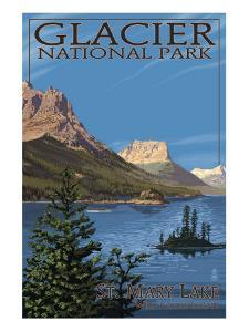 Glacier National Park - St. Mary Lake, c.2009 by Lantern Press