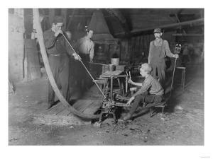 Glass Blower and Mold Boy Photograph - Grafton, WV by Lantern Press