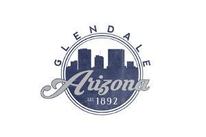 Glendale, Arizona - Skyline Seal (Blue) by Lantern Press