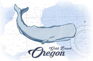 Gold Beach, Oregon - Whale - Blue - Coastal Icon by Lantern Press
