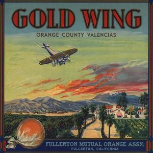 Gold Wing Brand - Fullerton, California - Citrus Crate Label by Lantern Press