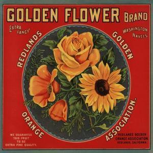 Golden Flower Brand - Redlands, California - Citrus Crate Label by Lantern Press
