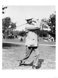 Golfer Ted Ray Swinging a Club Photograph by Lantern Press