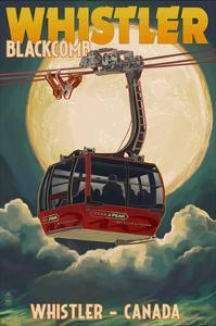 Gondola and Full Moon - Whistler, Canada by Lantern Press