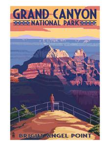 Grand Canyon National Park - Bright Angel Point by Lantern Press