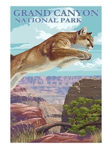 Grand Canyon National Park - Cougar Jumping by Lantern Press