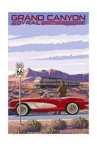 Grand Canyon Railway, Arizona - Route 66 - Corvette with Red Rocks by Lantern Press
