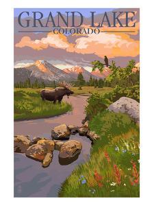 Grand Lake, Colorado - Moose and Meadow by Lantern Press