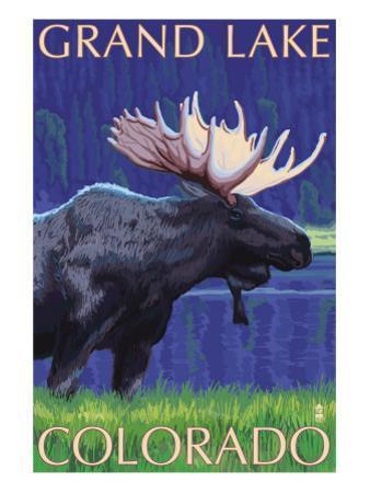 Grand Lake, Colorado - Moose at Night by Lantern Press