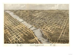 Grand Rapids, Michigan - Panoramic Map by Lantern Press
