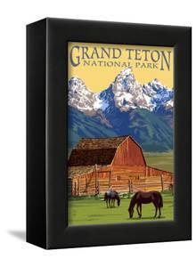 Grand Teton National Park - Barn and Mountains by Lantern Press