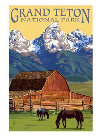 Grand Teton National Park - Barn and Mountains by Lantern Press