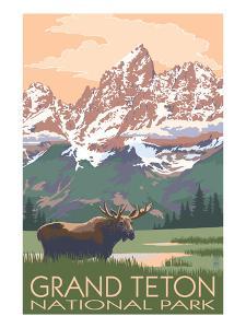 Grand Teton National Park - Moose and Mountains by Lantern Press