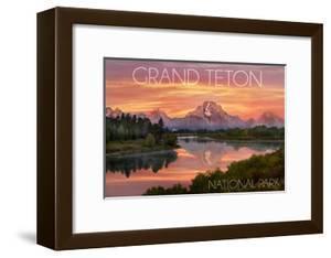 Grand Teton National Park, Wyoming - Sunset and Mountains by Lantern Press