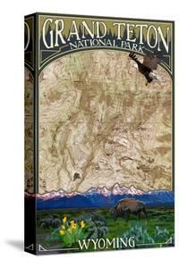 Grand Teton National Park, Wyoming - Topographical Map by Lantern Press