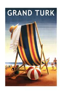 Grand Turk - Beach Chair and Ball by Lantern Press
