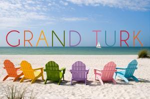 Grand Turk - Colorful Beach Chairs by Lantern Press