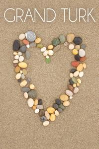 Grand Turk - Stone Heart on Sand by Lantern Press
