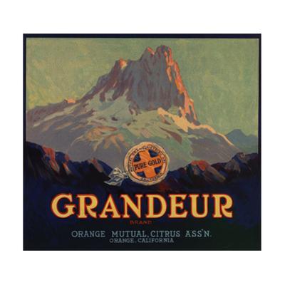 Grandeur Brand - Orange, California - Citrus Crate Label by Lantern Press