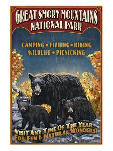 Great Smoky Mountains National Park - Black Bear by Lantern Press