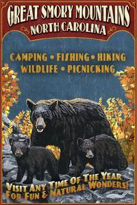 Great Smoky Mountains, North Carolina - Black Bears Vintage Sign by Lantern Press