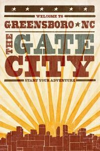 Greensboro, North Carolina - Skyline and Sunburst Screenprint Style by Lantern Press