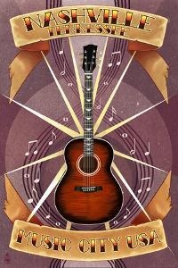 Guitar Banner - Nashville, Tennessee by Lantern Press