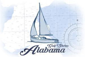 Gulf Shores, Alabama - Sailboat - Blue - Coastal Icon by Lantern Press