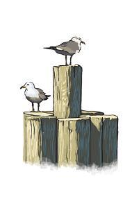 Gulls on Pilings - Icon by Lantern Press