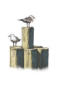 Gulls on Pilings - Icon by Lantern Press