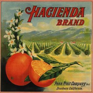 Hacienda Brand - California - Citrus Crate Label by Lantern Press