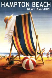 Hampton Beach, New Hampshire - Beach Chair and Ball by Lantern Press