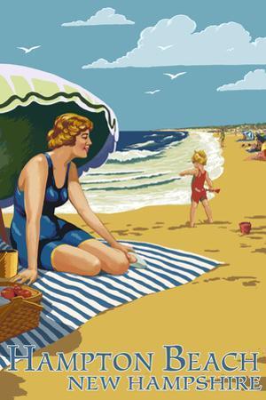 Hampton Beach, New Hampshire - Woman on Beach