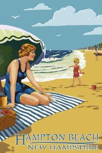 Hampton Beach, New Hampshire - Woman on the Beach by Lantern Press