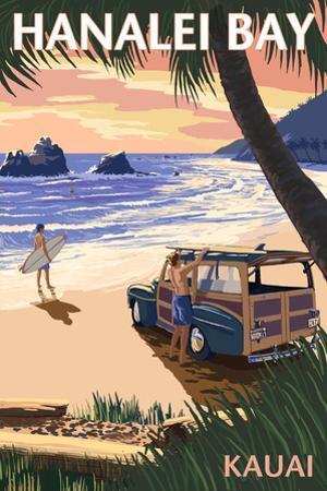 Hanalei Bay - Kauai, Hawaii - Woody on Beach by Lantern Press